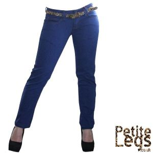 Lily Skinny Jeans in Super Soft Blue Leopard Print | UK Size 12 | Petite Leg Inseam 24.5 inches | With Free Belt
